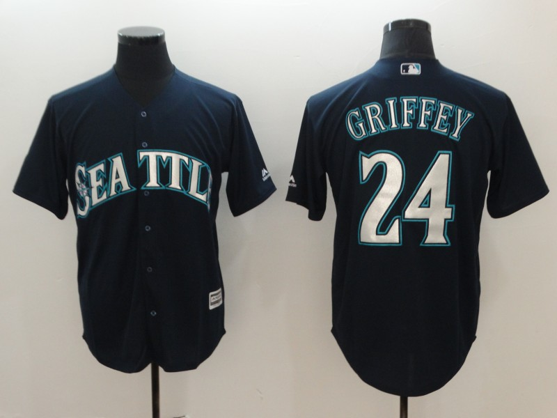 Mariners 24 Ken Griffey Jr. Navy Cool Base Jersey