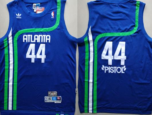 "Hawks 44 ""Pistol"" Pete Maravich Blue Hardwood Classics Jersey"