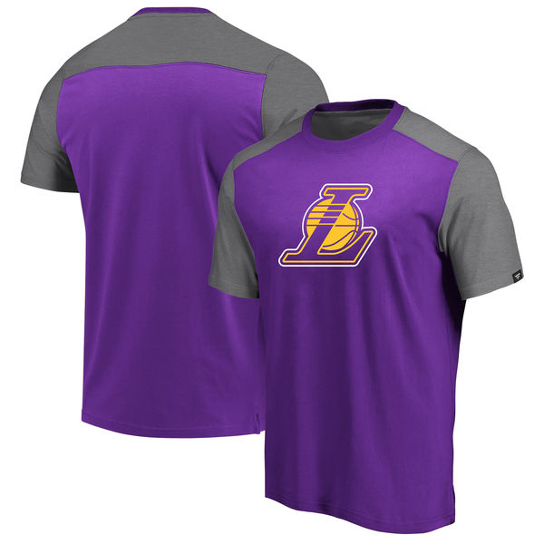Los Angeles Lakers Fanatics Branded Iconic Blocked T-Shirt Purple