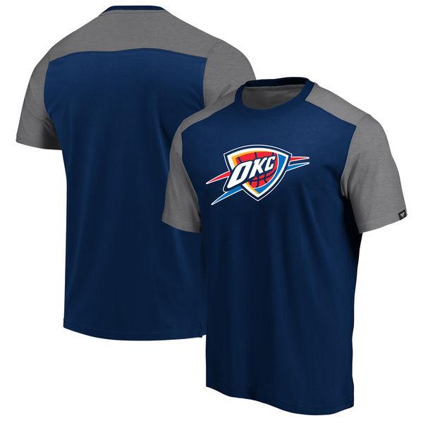 Oklahoma City Thunder Fanatics Branded Iconic Blocked T-Shirt Navy