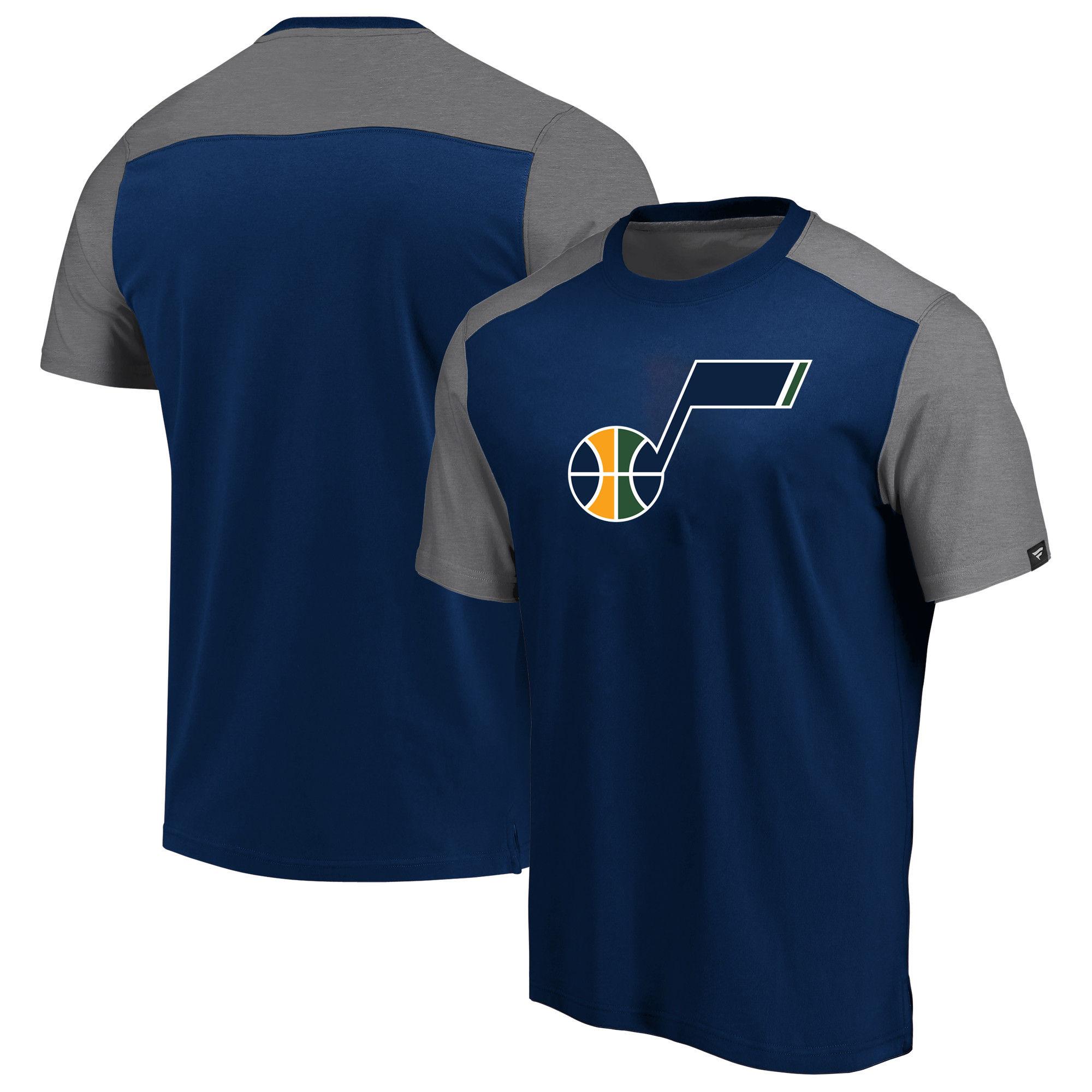 Utah Jazz Fanatics Branded Iconic Blocked T-Shirt Navy