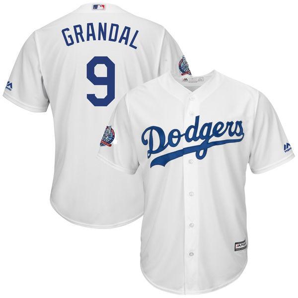 Dodgers 9 Yasmani Grandal White 60th Anniversary patch Cool Base Jersey