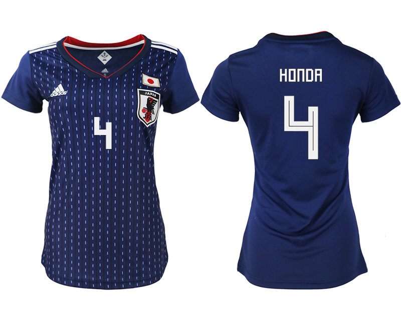 Japan 4 HONDA Home Women 2018 FIFA World Cup Soccer Jersey
