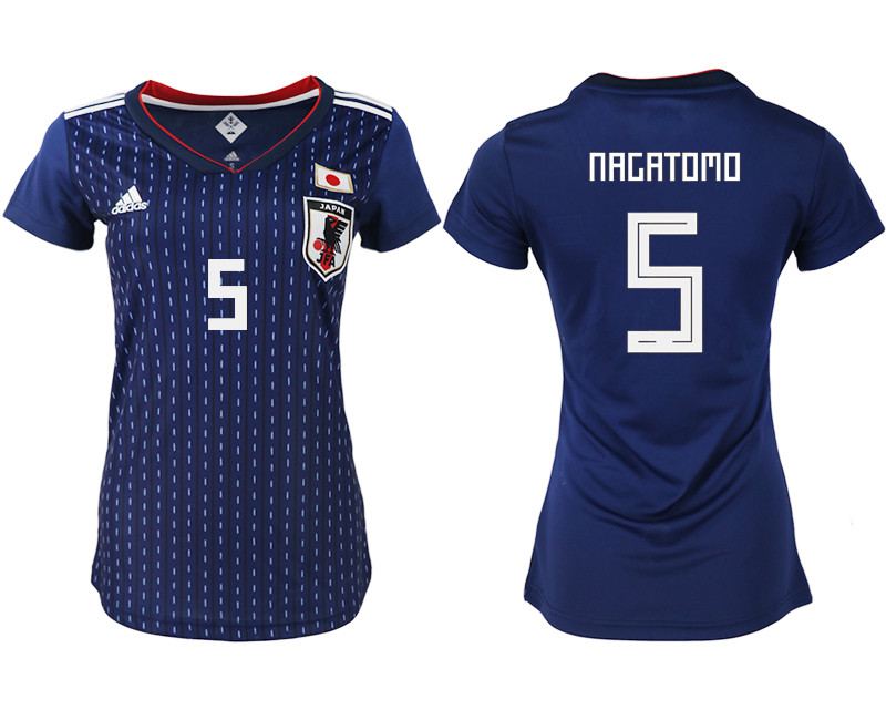 Japan 5 NAGATOMO Home Women 2018 FIFA World Cup Soccer Jersey