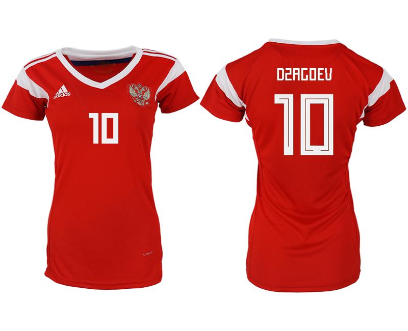 Russia 10 DZAGOEV Home Women 2018 FIFA World Cup Soccer Jersey