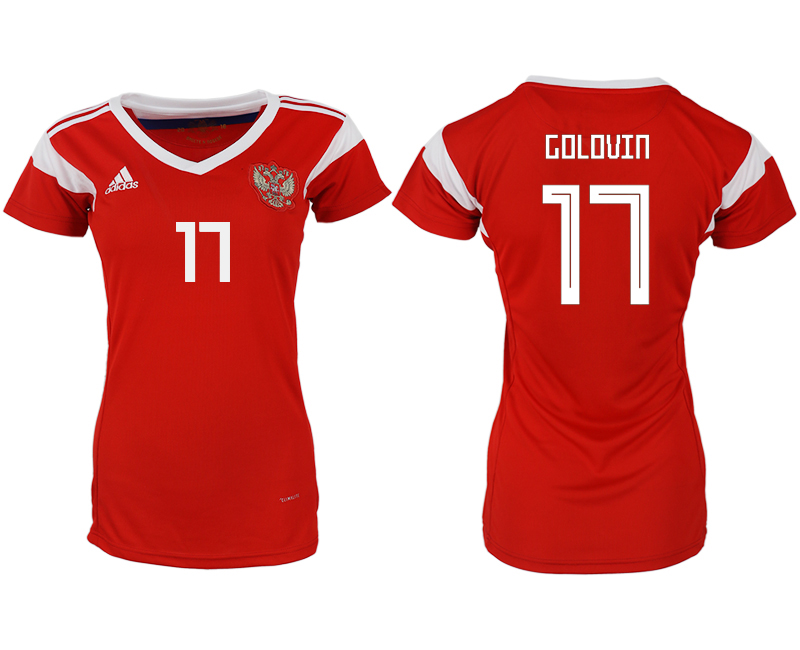 Russia 17 GOLOVIN Home Women 2018 FIFA World Cup Soccer Jersey