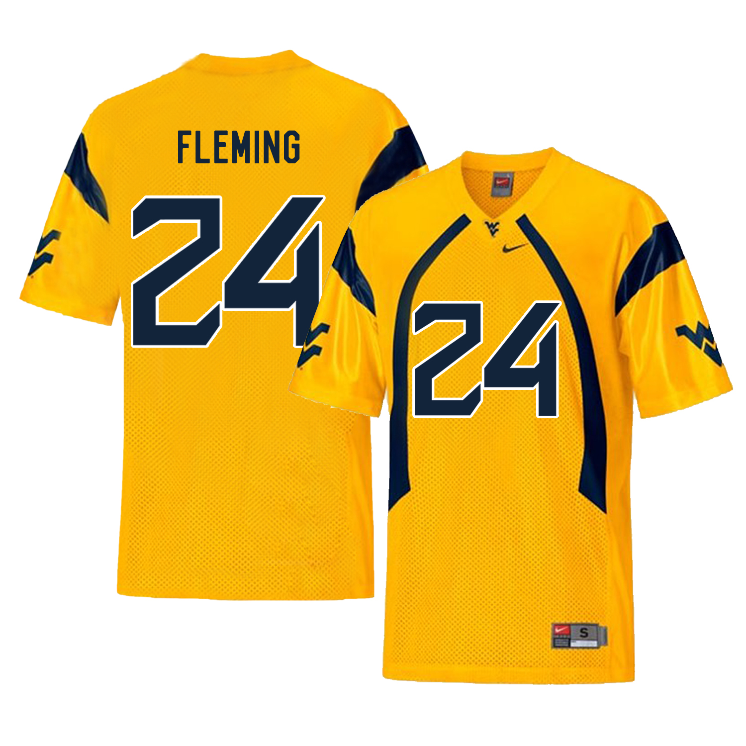 West Virginia Mountaineers 24 Maurice Fleming Gold College Football Jersey