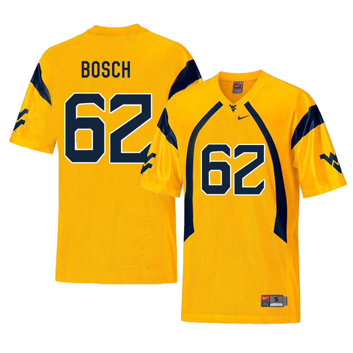 West Virginia Mountaineers 62 Kyle Bosch Gold College Football Jersey