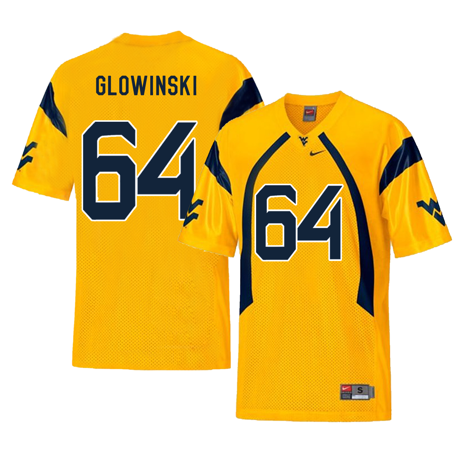 West Virginia Mountaineers 64 Mark Glowinski Gold College Football Jersey