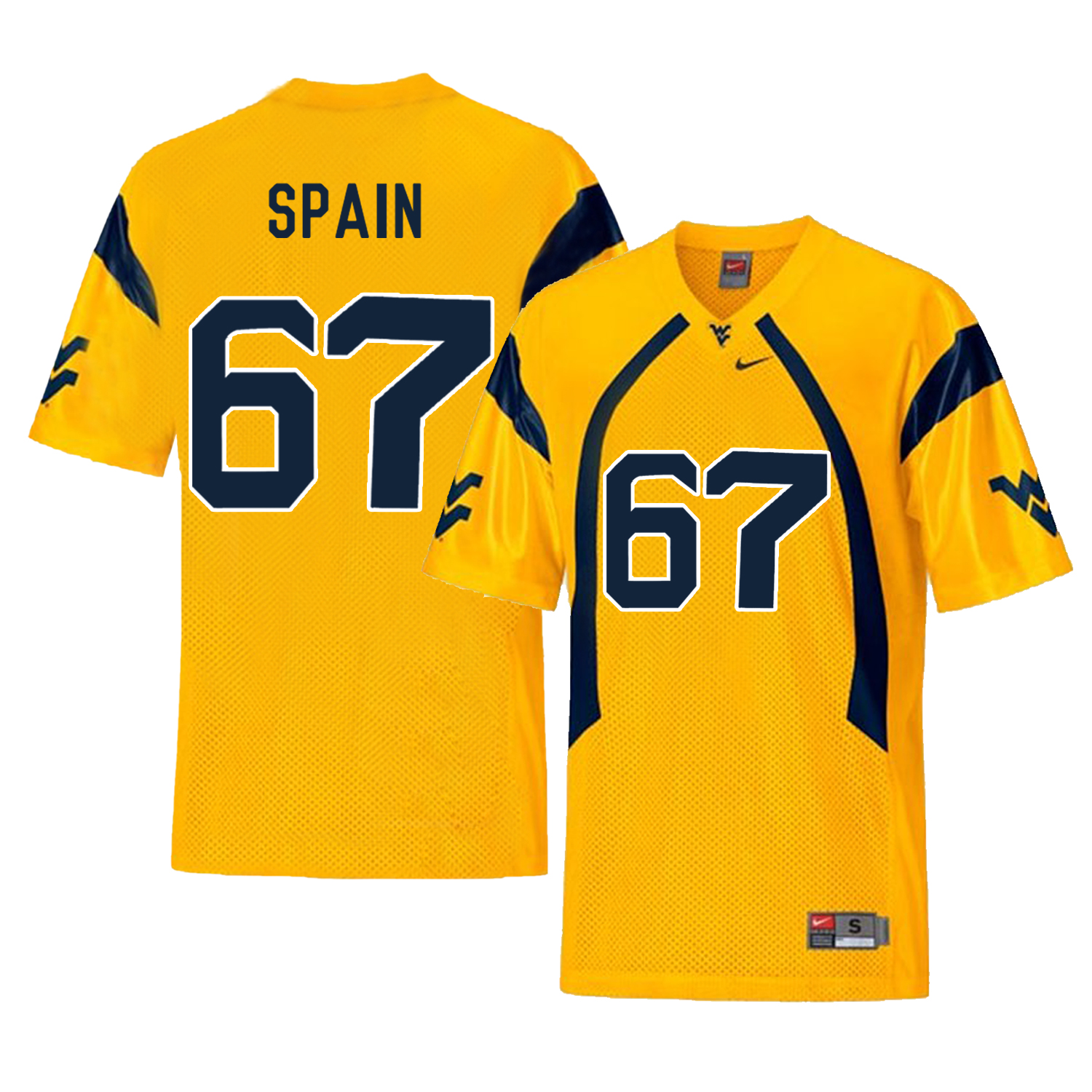 West Virginia Mountaineers 67 Quinton Spain Gold College Football Jersey