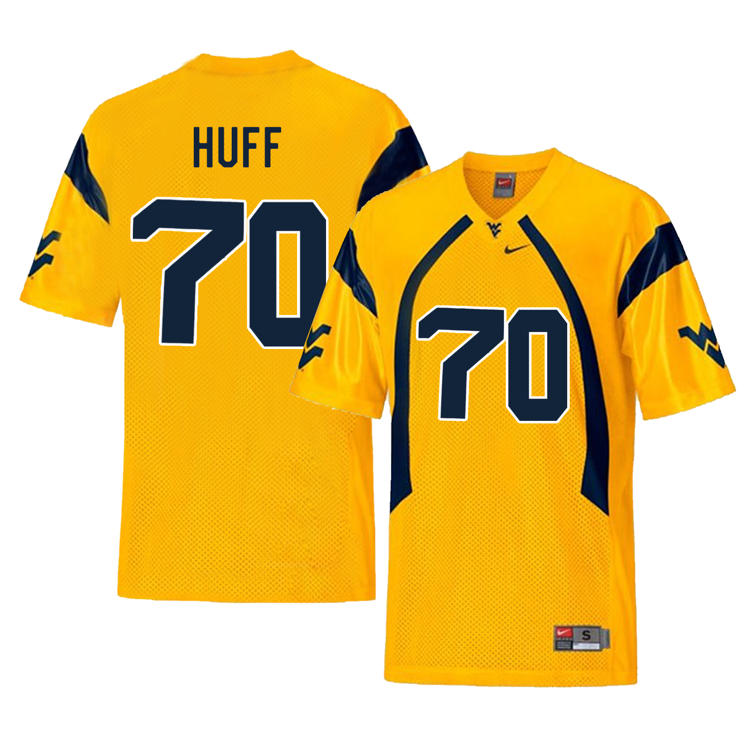 West Virginia Mountaineers 70 Sam Huff Gold College Football Jersey