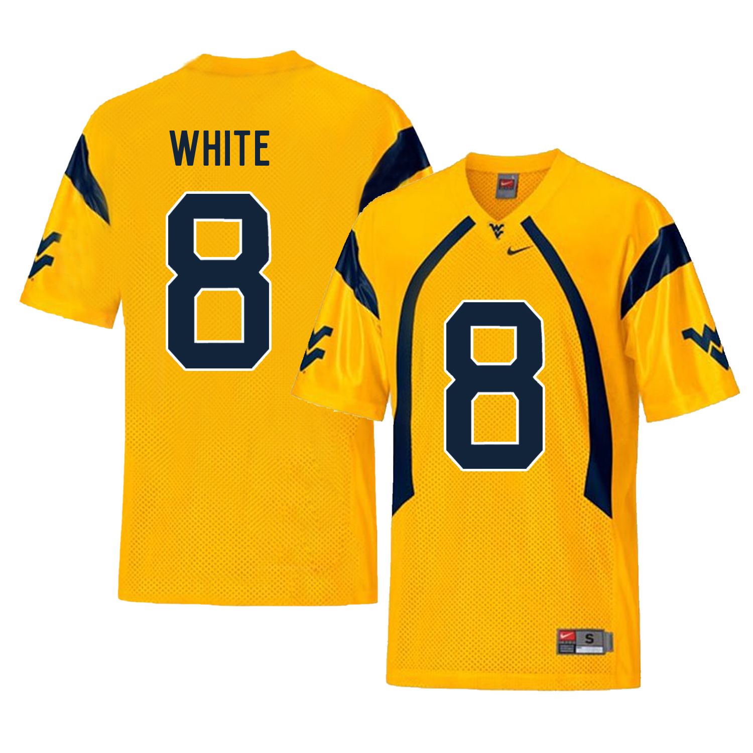 West Virginia Mountaineers 8 Kyzir White Gold College Football Jersey
