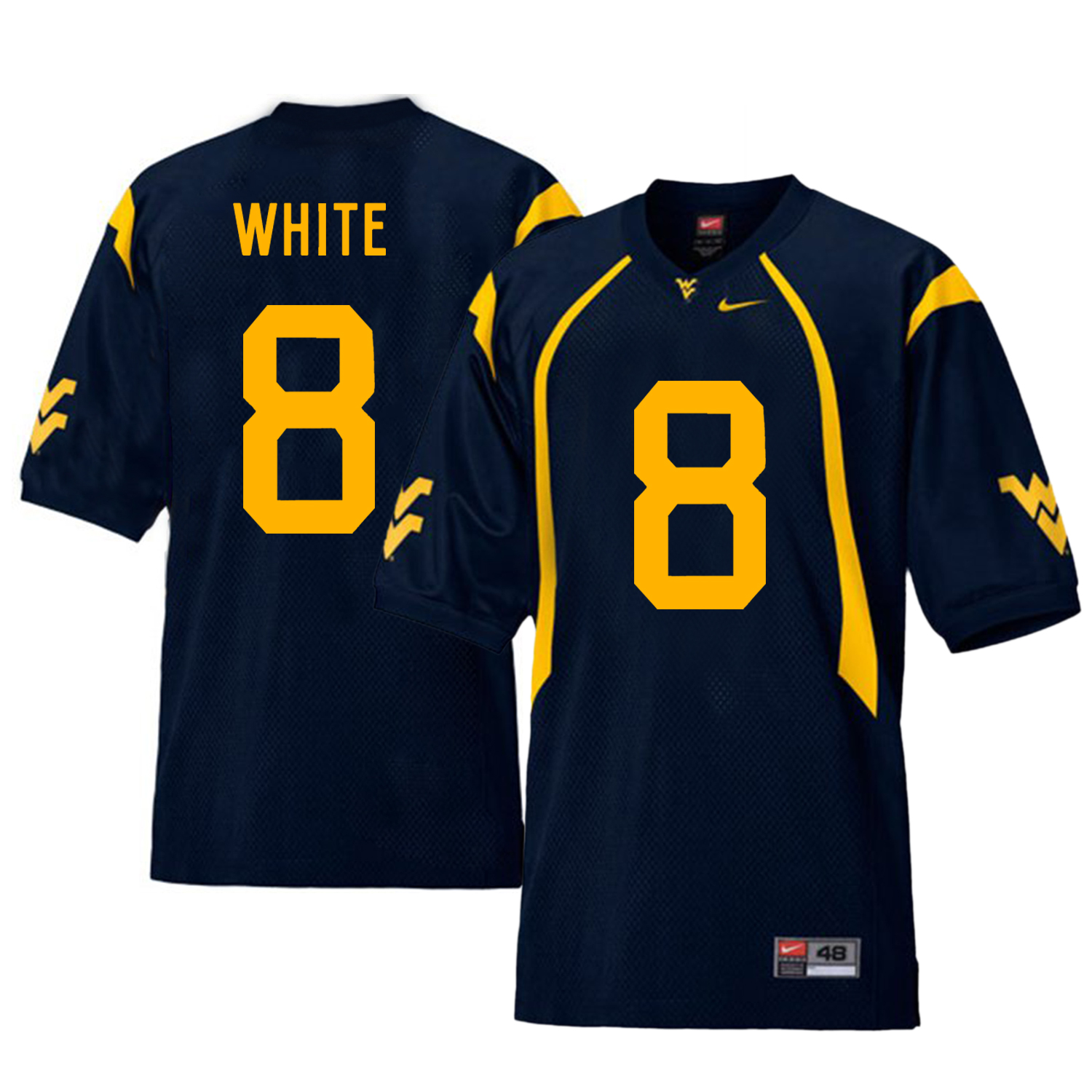 West Virginia Mountaineers 8 Kyzir White Navy College Football Jersey