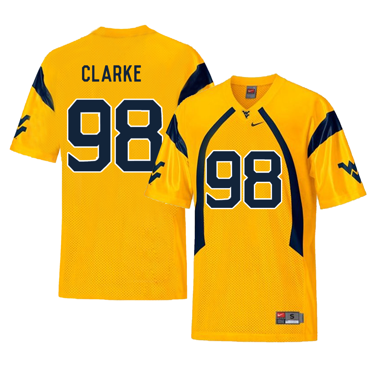 West Virginia Mountaineers 98 Will Clarke Gold College Football Jersey