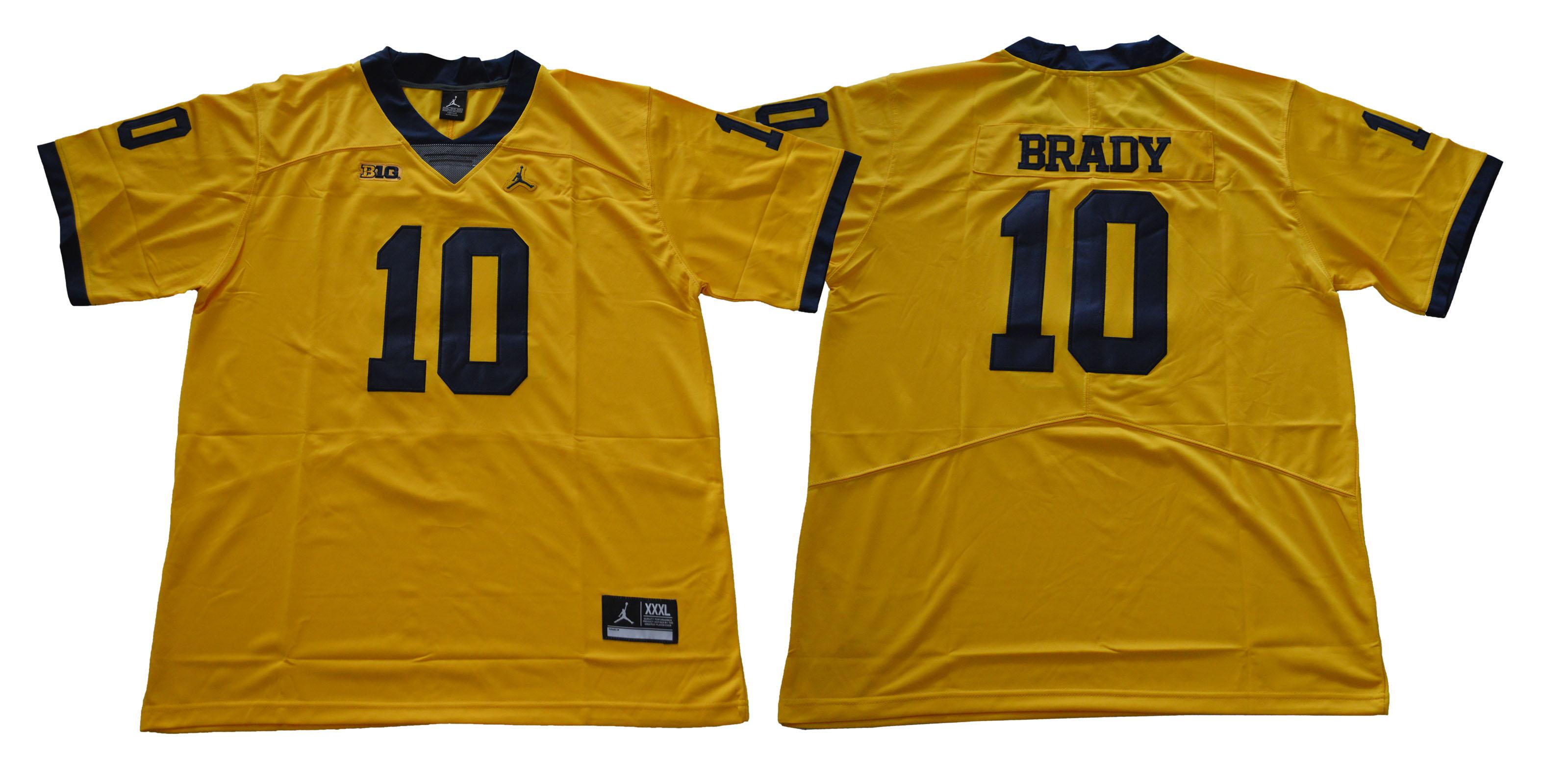 Michigan Wolverines 10 Tom Brady Gold College Football Jersey