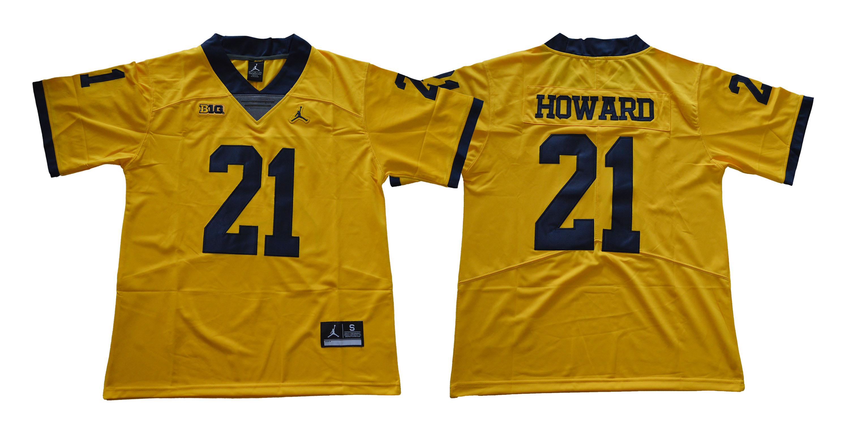 Michigan Wolverines 21 Desmond Howard Gold College Football Jersey