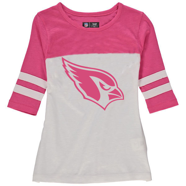 Arizona Cardinals 5th & Ocean by New Era Girls Youth Jersey 34 Sleeve T-Shirt White/Pink