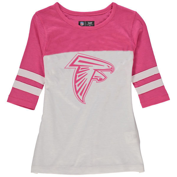 Atlanta Falcons 5th & Ocean by New Era Girls Youth Jersey 34 Sleeve T-Shirt White/Pink