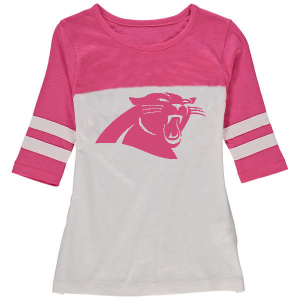 Carolina Panthers 5th & Ocean by New Era Girls Youth Jersey 34 Sleeve T-Shirt White/Pink