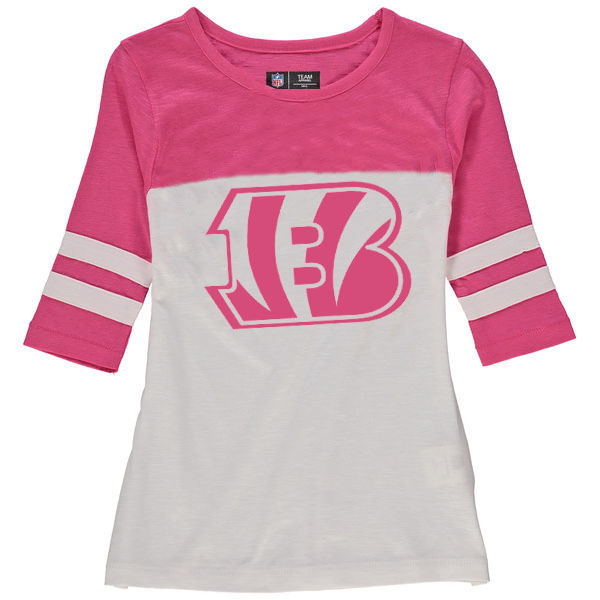 Cincinnati Bengals 5th & Ocean by New Era Girls Youth Jersey 34 Sleeve T-Shirt White/Pink