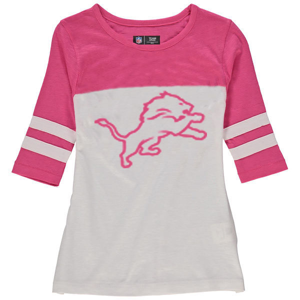 Detroit Lions 5th & Ocean by New Era Girls Youth Jersey 34 Sleeve T-Shirt White/Pink