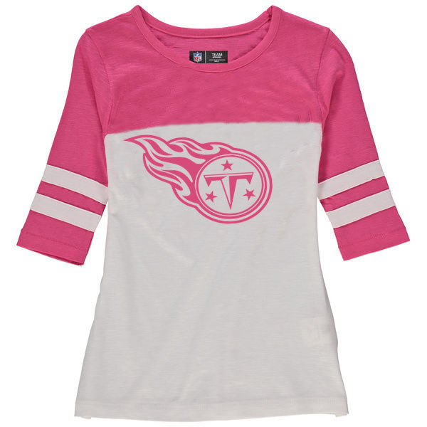 Tennessee Titans 5th & Ocean by New Era Girls Youth Jersey 34 Sleeve T-Shirt White/Pink