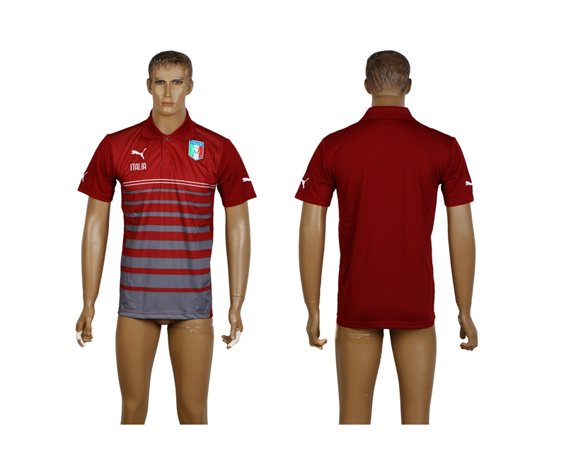 Italy Red Soccer Polo Shirt