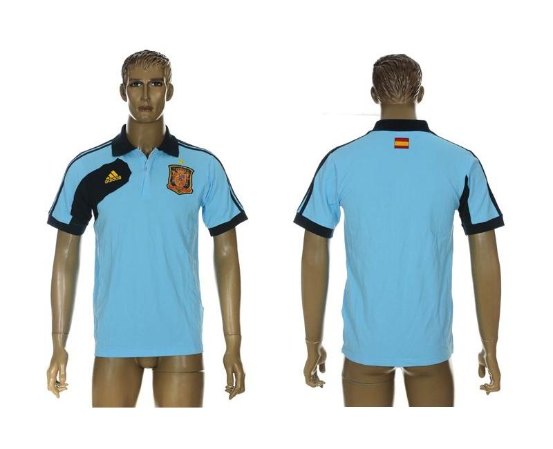 Spain Blue Adidas Soccer Polo Shirt
