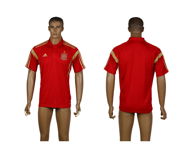 Spain Red Soccer Polo Shirt