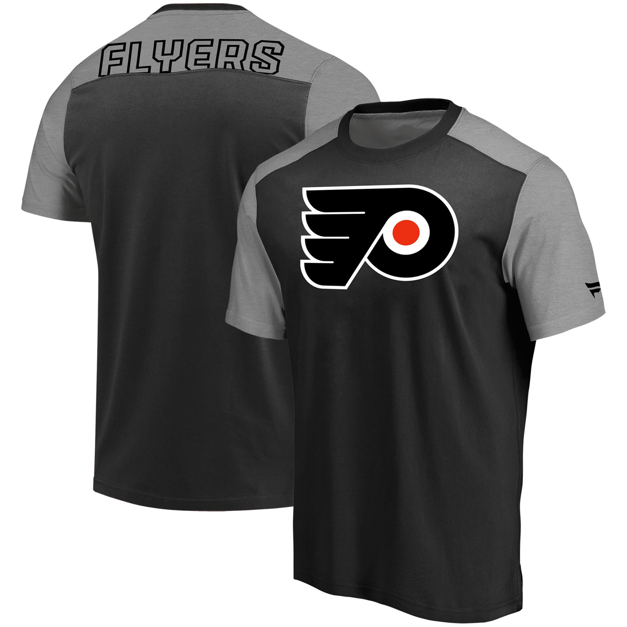 Philadelphia Flyers Fanatics Branded Iconic Blocked T-Shirt BlackHeathered Gray