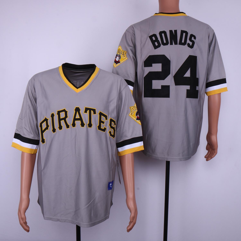 Pirates 24 Barry Bonds Gray Throwback Jersey