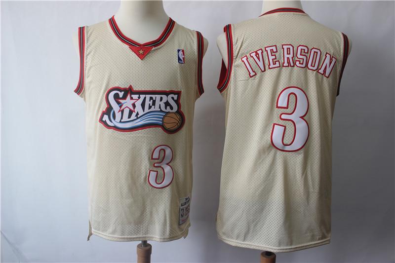 76ers 3 Allen Iverson Cream Hardwood Classics Jersey