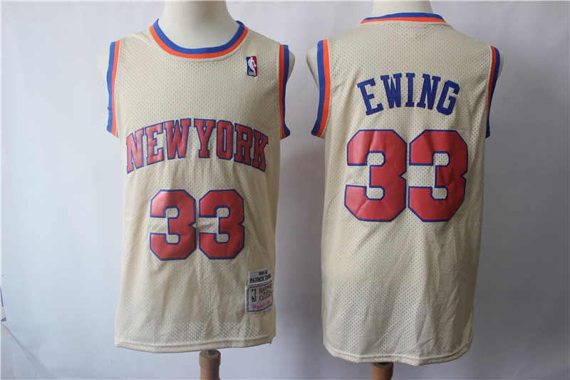 Knicks 33 Patrick Ewing Cream Hardwood Classics Jersey