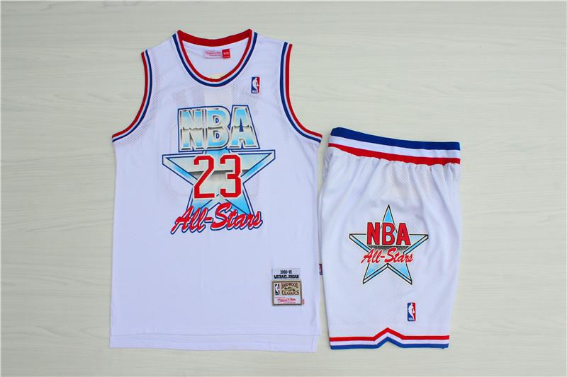 Bulls 23 Michael Jordan White 1992 All-Star Hardwood Claasics Jersey(With Shorts)