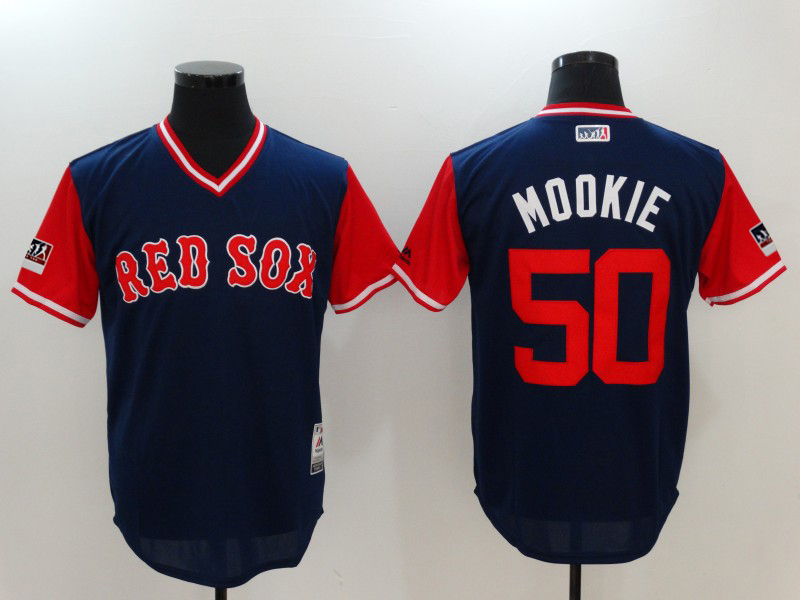 Red Sox 50 Mookie Betts Mookie Navy 2018 Players' Weekend Authentic Team Jersey