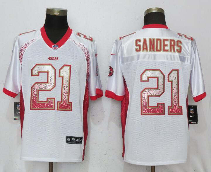 Nike 49ers 21 Deion Sanders White Drift Fashion Elite Jersey