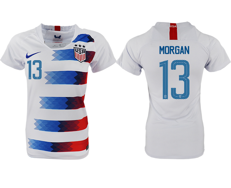 2018-19 USA 13 MORGAN Home Women Soccer Jersey