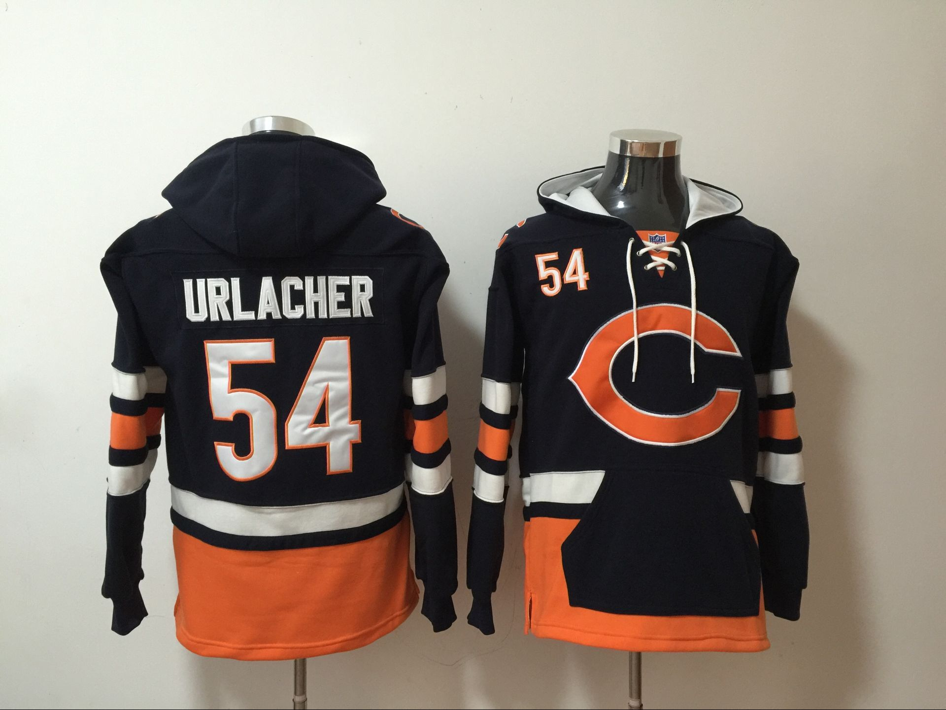 Nike Bears 54 Brian Urlacher Navy All Stitched Hooded Sweatshirt