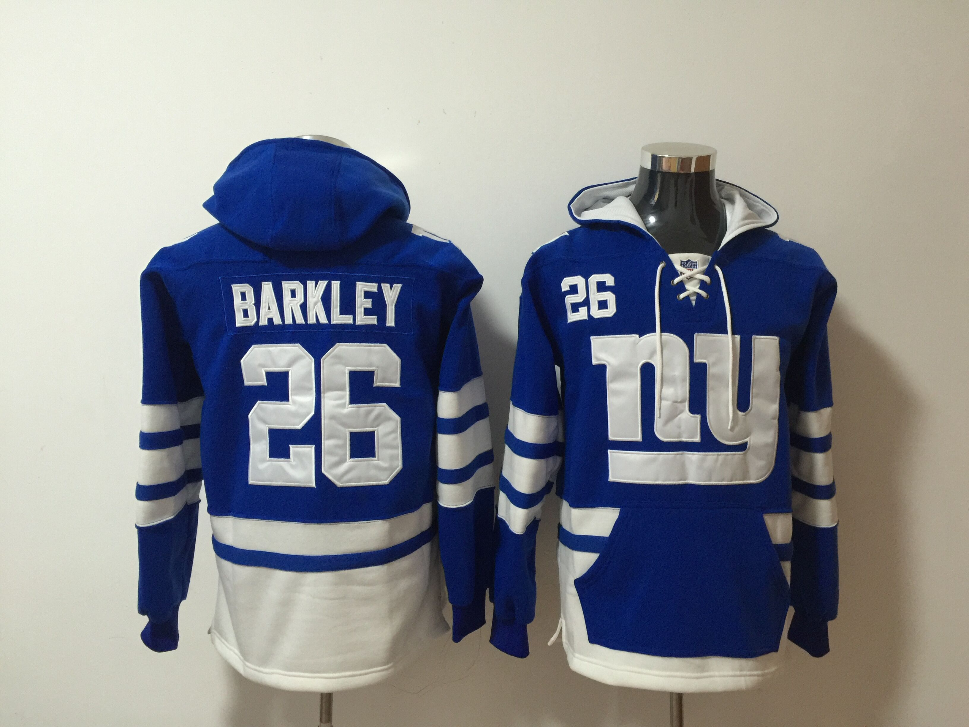 Nike Giants 26 Saquon Barkley Royal All Stitched Hooded Sweatshirt
