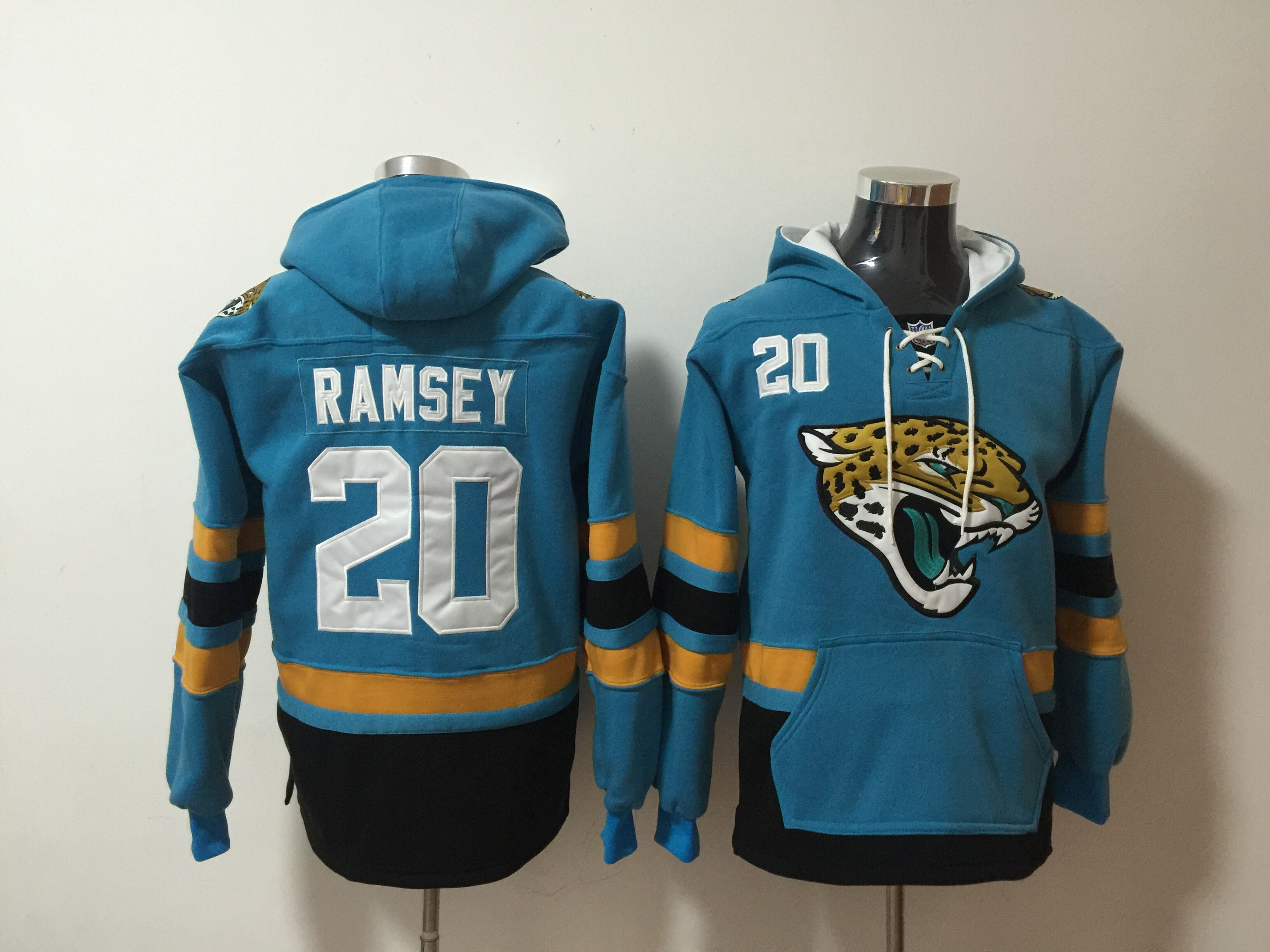 Nike Jaguars 20 Jalen Ramsey Teal All Stitched Hooded Sweatshirt
