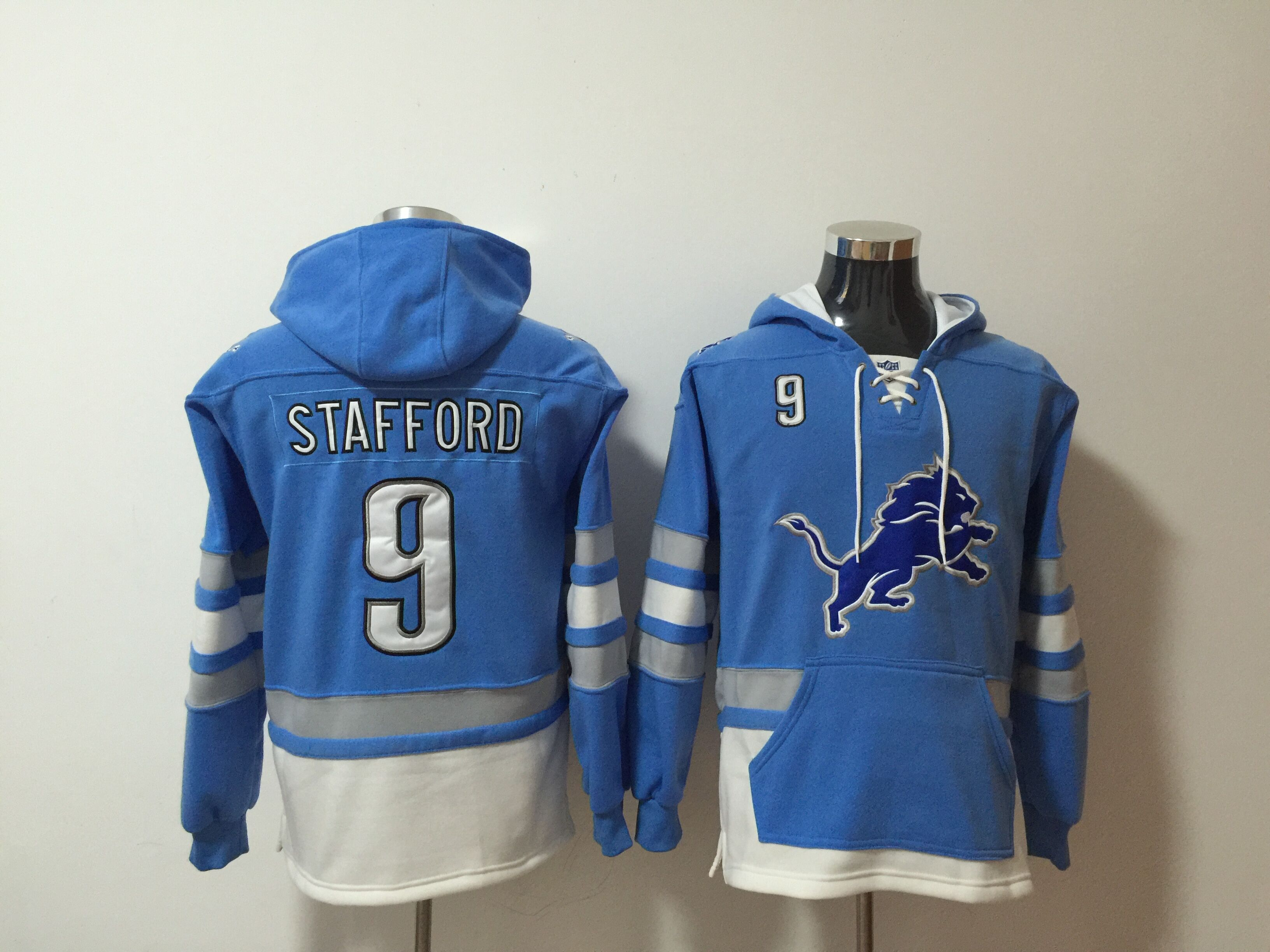 Nike Lions 19 Matthew Stafford Blue All Stitched Hooded Sweatshirt