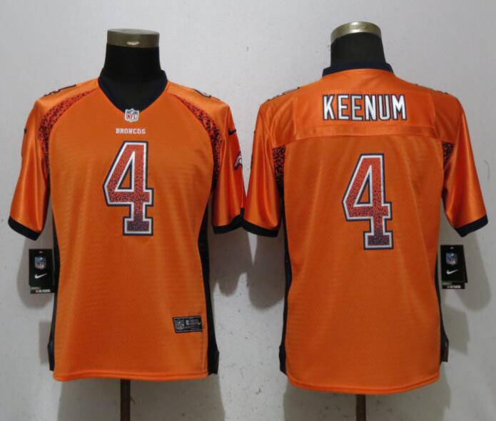 Nike Broncos 4 Case Keenum Orange Women Drift Fashion Jersey