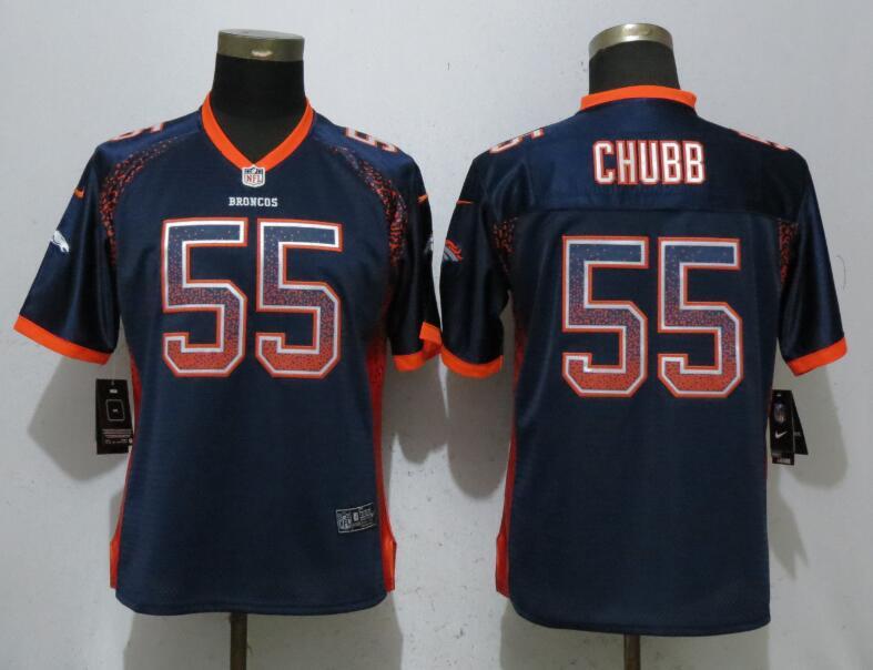 Nike Broncos 55 Bradley Chubb Navy Women Drift Fashion Jersey