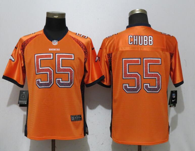 Nike Broncos 55 Bradley Chubb Orange Women Drift Fashion Jersey