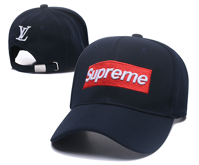 Supreme Fresh Logo Navy Fashion Adjustable Hat SG