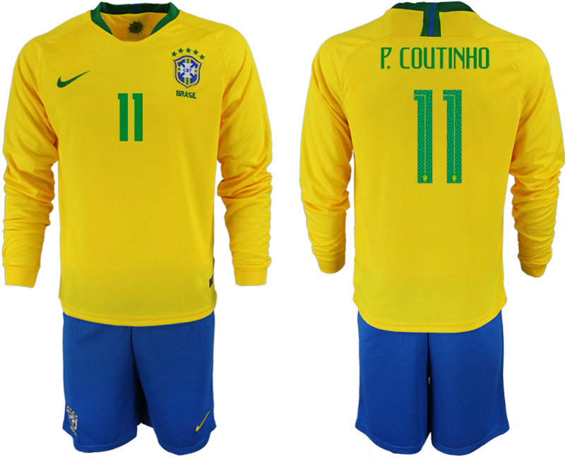 Brazil 11 P. COUTINHO Home 2018 FIFA World Cup Long Sleeve Soccer Jersey