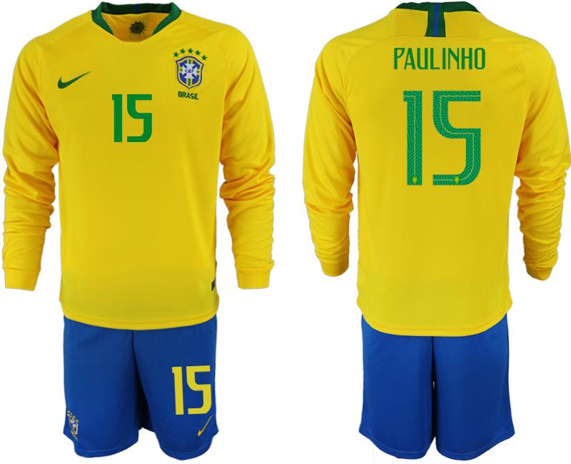 Brazil 15 PAULINHO Home 2018 FIFA World Cup Long Sleeve Soccer Jersey