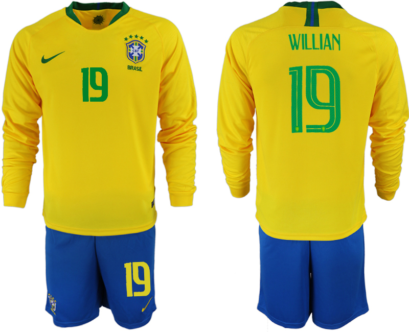 Brazil 19 WILLIAN Home 2018 FIFA World Cup Long Sleeve Soccer Jersey
