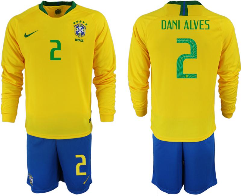 Brazil 2 DANI ALVES Home 2018 FIFA World Cup Long Sleeve Soccer Jersey