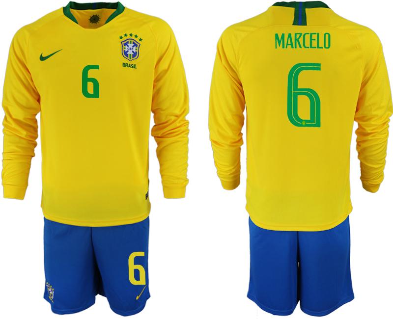 Brazil 6 MARCELO Home 2018 FIFA World Cup Long Sleeve Soccer Jersey